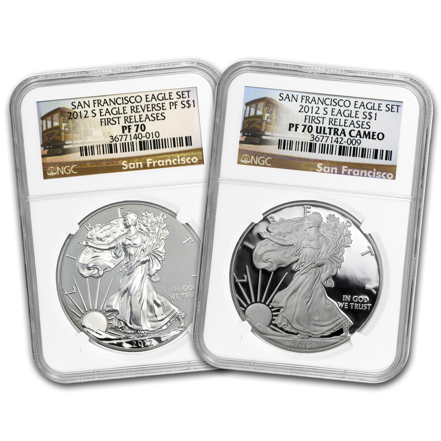 2012-S (2 Coin) Silver Eagle Set PF-70 NGC 75th Anniv (FR)